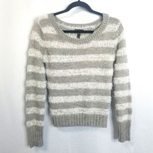 Fang Gray Striped Fuzzy Sweater